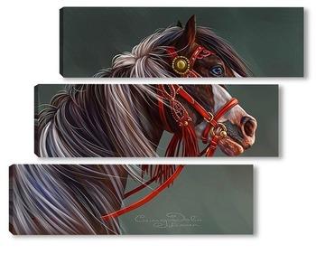 Модульная картина Пегий конь