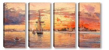 Модульная картина Закат над морем у Стокгольма