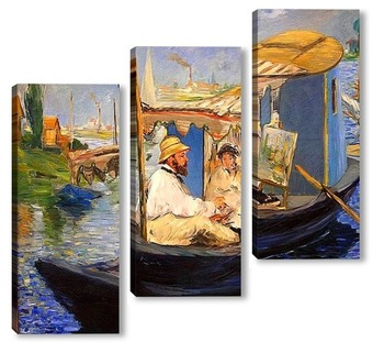 Модульная картина Моне рисует в лодке