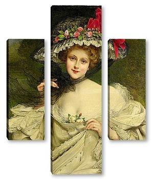 Модульная картина Девушка в шляпе с красным бантом
