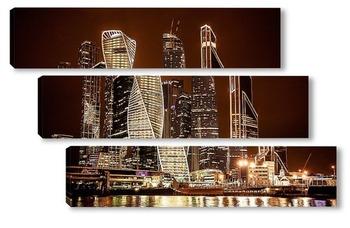Модульная картина Городские высотки Москвы сити