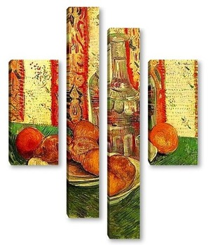 Модульная картина Натюрморт с графином и лемонами на тарелке