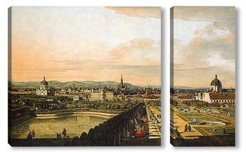 Модульная картина Вена, вид из дворца Бельведер