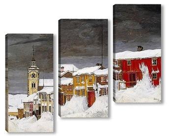 Модульная картина Зимняя улица в Рёрусе