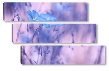 Модульная картина Цветы льна с нежным тонированием