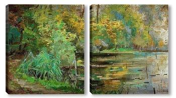 Модульная картина Деревья на берегу реки