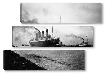 Модульная картина Вывод Титаника на ходовые испытания