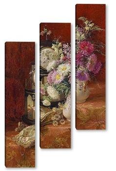 Модульная картина Натюрморт со старинными часами
