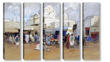 Модульная картина Вид на мечеть, площадь Баб-Соика, Тунис