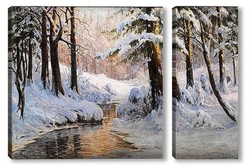 Модульная картина Снежный пейзаж в лесу
