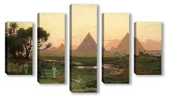 Модульная картина Пирамиды в Гизе у берега Нила