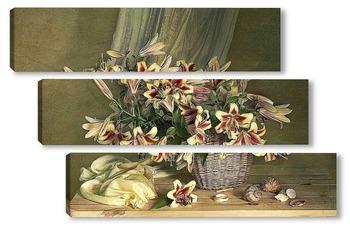 Модульная картина Натюрморт с лилиями в корзине