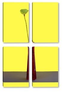 Модульная картина Плод лотоса без лепестков на жёлтом фоне в красной бутылке