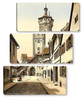 Модульная картина Колокольня , Ротенбург (т.е. об-дер-Таубер), Бавария, Германия. 1890-1900 гг