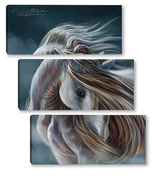 Модульная картина Лошадь в тумане