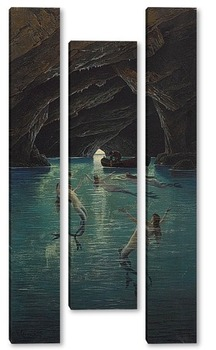 Модульная картина Рыбак и русалки , грот на Капри