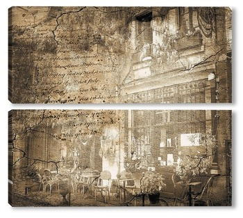 Модульная картина Старое фото кафе
