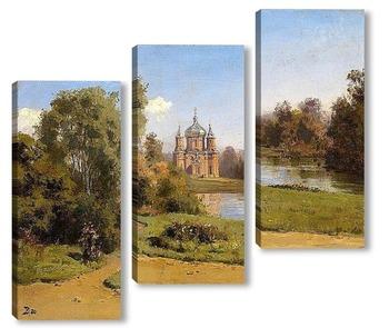Модульная картина Церковь на озере