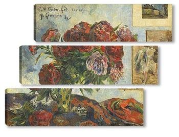 Модульная картина Натюрморт с пионами, 1884