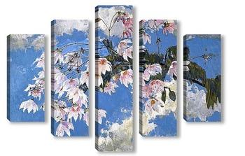 Модульная картина Под цветущим деревом