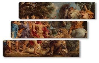 Модульная картина Фламандская охота на кабана