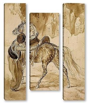 Модульная картина Турок , седлающий коня
