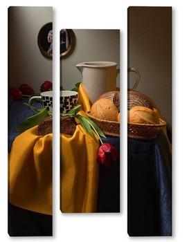 Модульная картина Натюрморт с репродукцией картины Вермеера