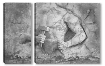Модульная картина Атлетический человек из камня