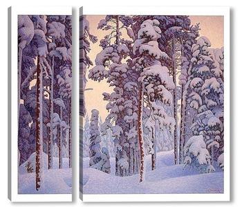 Модульная картина Снежный зимний пейзаж.