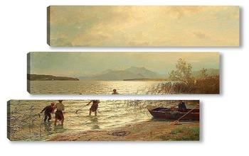Модульная картина Рыбалка на берегу