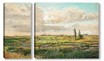 Модульная картина Пастух в обширном пейзаже