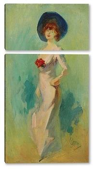 Модульная картина Портрет дамы в розовом платье