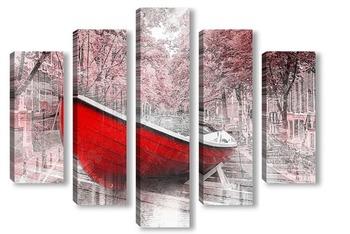 Модульная картина Красная лодка