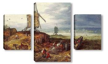 Модульная картина Пейзаж с мельницей