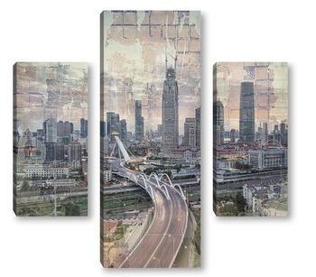 Модульная картина Город в сумерках