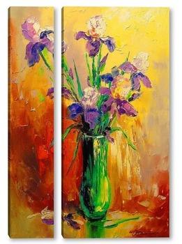 Модульная картина Букет ирисов в вазе