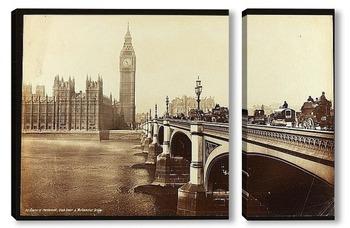 Модульная картина Лондон, Дом Парламента и Вестминстерский мост, 1890