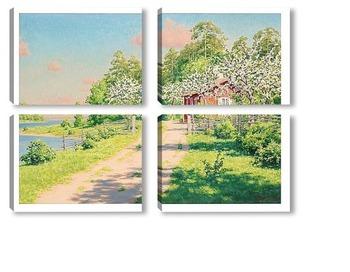 Модульная картина Летний пейзаж с домом.