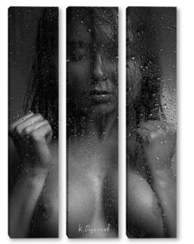 Модульная картина Дождь и девушка 1