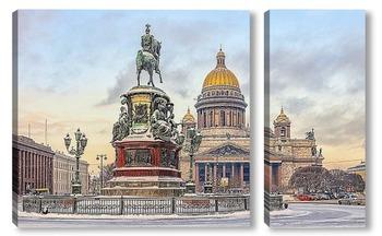 Модульная картина Санкт-Петербург. Снегопад на Исаакиевской площади.