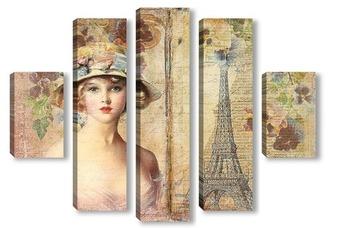 Модульная картина Девушка в Париже