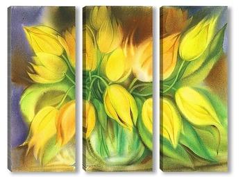 Модульная картина жёлтые тюльпаны