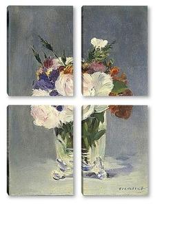 Модульная картина Цветы в хрустальной вазе
