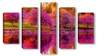 Модульная картина Деревья над водой