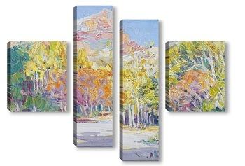 Модульная картина Горный пейзаж с деревьями