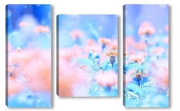 Модульная картина Полевые цветы васильки на голубом фоне