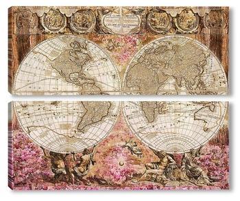 Модульная картина Старая карта