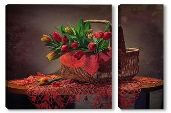 Модульная картина Корзинка тюльпанов