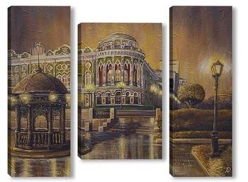 Модульная картина Вечерний Екатеринбург, вид на дом Севастьянова