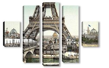 Модульная картина Эйфелева башня и общий вид